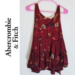 Burgundy Boho Indie Abercrombie and Fitch Top Sz S